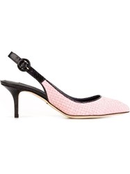 Dolce And Gabbana Woven Slingback Pumps Pink And Purple