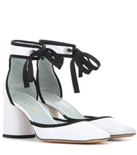 Marc Jacobs Embellished Patent Leather Sandals White