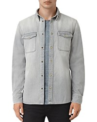 Allsaints Ardno Slim Fit Button Down Shirt Gray