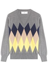 Ami Alexandre Mattiussi Wool Diamond Knit Pullover Grey