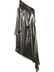Halston Heritage Metallic Grey Asymmetric Hem Dress