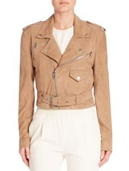 Polo Ralph Lauren Cropped Suede Moto Jacket Saddlery Tan