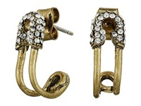 Marc Jacobs Safety Pin Strass Ear Hoop Earrings Crystal Antique Gold Earring Clear