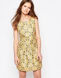 Traffic People Tease Dress In Jacquard Gold