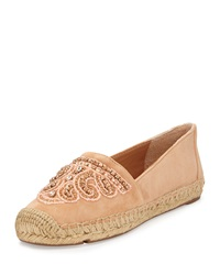 Vince Camuto Signature Cafi Embellished Suede Espadrille Flat Buff
