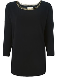 Michael Michael Kors Chain Embellished Collar Blouse Black