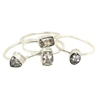 Sweet1985 Sparkle Stackable Ring Set Silver