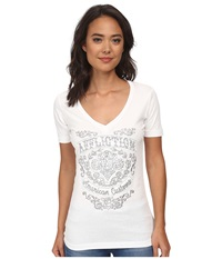 Affliction Suzette Short Sleeve Racerback V Neck Tee White Women's T Shirt
