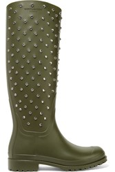Saint Laurent Festival Crystal Embellished Rubber Rain Boots Army Green