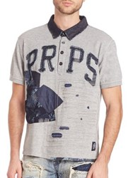 Prps Jabo Denim Patched Polo Shirt Heather Grey