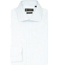 Corneliani Double Stripe Cotton Shirt Wht Blue