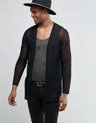 Asos Longline Cardigan In Sheer Yarn Black