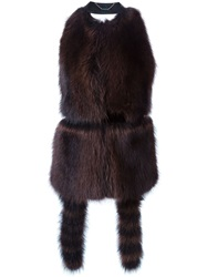 Givenchy Backless Fur Gilet Brown