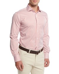 Peter Millar Tenor Stripe Long Sleeve Sport Shirt Summer Coral Sumcor