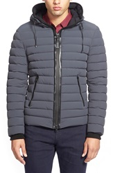 Mackage 'Lux' Water Repellent Hooded Down Jacket With Leather Trim Charcoal