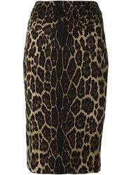 Samantha Sung Animal Print Pencil Skirt Brown