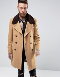 Noose And Monkey Double Breasted Overcoat With Borg Collar Camel Tan