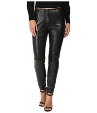 Just Cavalli Leather Leggings With Stitch Detail Black