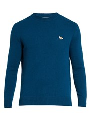 Maison Kitsune Fox Applique Crew Neck Wool Sweater Blue