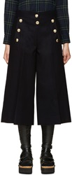 Sacai Navy Wool Pleated Flare Trousers