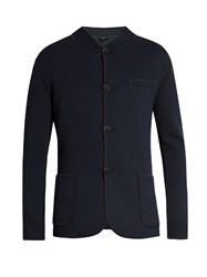Giorgio Armani Exposed Seam Wool Blend Jersey Blazer Navy