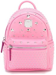 Mcm 'Stark' Studded Backpack Pink And Purple