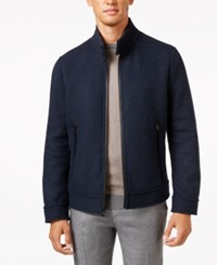 Andrew Marc New York Men's Trail Wool Double Faced Bomber Jacket Navy