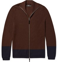 Helbers Helber Two Tone Cahmere Wool And Ilk Blend Zip Up Cardigan Chocolate