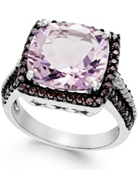 Macy's Pink Amethyst 12Mm And Swarovski Zirconia Ring In Sterling Silver