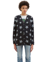 Saint Laurent Metallic Star Intarsia Mohair Knit Cardigan Black