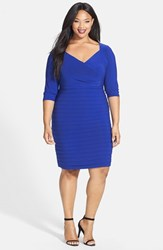 Plus Size Women's Adrianna Papell Shutter Pleat V Neck Sheath Dress Electric Blue
