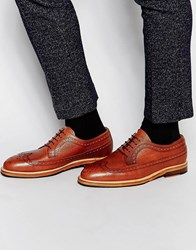 Selected Homme Benny Leather Brogue Shoes Brown