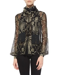 J. Mendel Metallic Embroidered Wrap Collar Blouse