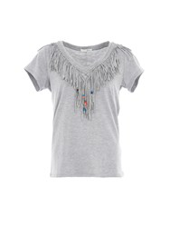 Relish Fringed T Shirt With Beaded Detail Light Grey