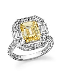 Judith Ripka Baguette Wrap Emerald Cut Ring With Rock Crystal Quartz And Canary Crystal Yellow Silver