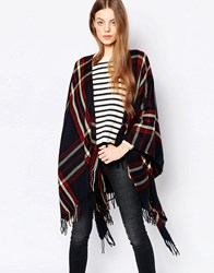Pia Rossini Tartan Wrap Cape Navy Red