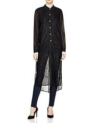 Romeo And Juliet Couture Sheer Button Down Duster Shirt Compare At 130 Black