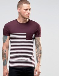 Asos Extreme Muscle Stripe T Shirt In Oxblood Oxblood Red