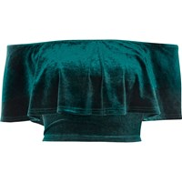 River Island Womens Green Velvet Deep Frill Bardot Crop Top