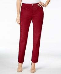 Charter Club Tummy Control Slim Leg Ankle Pants Only At Macy's New Red Amore