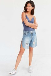 One Teaspoon Frankie Destroyed Boyfriend Denim Short Vintage Denim Light