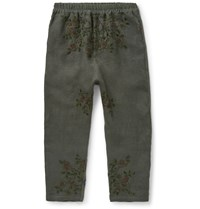 By Walid Morton Embroidered Linen Trousers Green