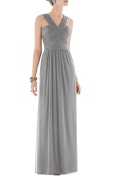 Women's Alfred Sung Shirred Chiffon V Neck Gown Quarry