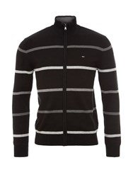 Eden Park Striped Cotton Zip Up Cardigan Black