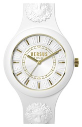 Versus By Versace 'Fire Island' Round Rubber Strap Watch 39Mm White