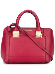Emporio Armani Contrast Stitching Tote Bag Red