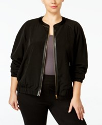 Calvin Klein Plus Size Faux Leather Trim Bomber Jacket Black