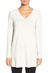 Eileen Fisher Petite Women's V Neck Organic Cotton Pullover Bone
