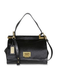 Badgley Mischka Chantel Leather And Calf Hair Crossbody Satchel Black