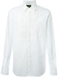 Amen Flower Embroidered Bib Shirt White